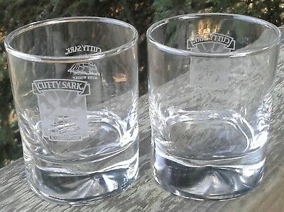 TWO (2)  CUTTY SARK SCOTS WHISKEY GLASSES VINTAGE DIMPLED HEAVY BASE Ships Free