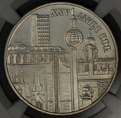 1974 Ngc Ms64 East Germany Silver 10 Mark 25Th Anniversary Ddr D.d.r.