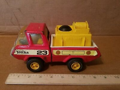 """MINI TONKA Fire Pumper Red and Yellow Truck Vintage Pressed Steel Toy 9"""""""
