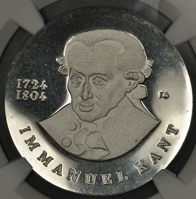 1974 Ngc Pf68Ucam East Germany Silver 20 Mark Proof Immanuel Kant