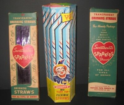 RARE 1960's_Vintage CLOWN Scoopy's Flexible Straws_ONLY 1 ON EBAY_+ 2 SWEETHEART