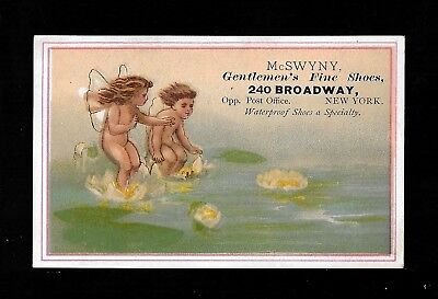 Little Winged Water Lily Fairies-1880s Victorian Trade Card-Shoes