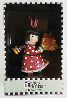 """Mary Engelbreit Christmas Ornament Girl With Present Gift 4"""" NEW SEALED"""