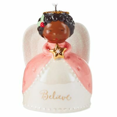 Hallmark Porcelain African American Believe Angel Ornament