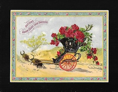 Black Horned Beetles Pull Red Wheeled Carriage-1880s Victorian Trade Card