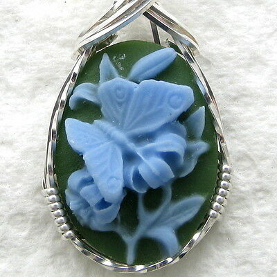 Blue Butterfly Cameo Pendant .925 Sterling Silver Jewelry Resin
