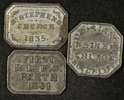 1835, 1841, & No Date Communion Tokens Lot Of 3 8-Sided Octagonal Tokens