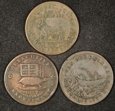 1837-1841 Lot Of (3) Hard Times Tokens