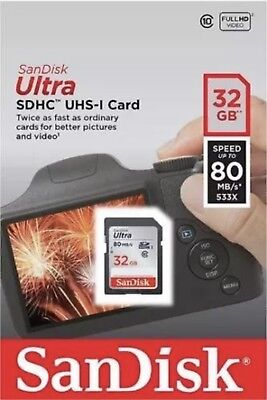 NEW SanDisk 32GB Ultra SDHC SD Card Class 10 UHS-I Memory Card 80MB/S For Camera