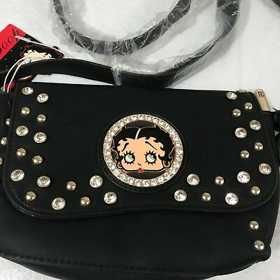 Betty Boop Black Messenger Purse Crossboby Handbag Rhinestone Stud Accent Gems