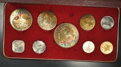1966 Bahamas 9-Coin Mint Set W/ Complete Ogp & Outer Box Superb Toning