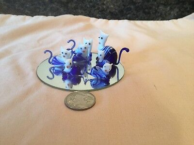 Set Of 7 Miniature Blown Glass Cat Family  Blue White With Display Mirror