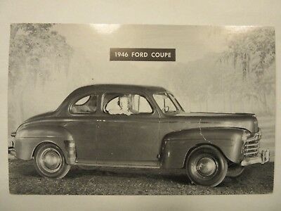 1946 FORD COUPE, car dealership STORM LAKE, IA. advertising postcard