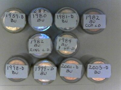 10 Rolls BU Lincoln Cents/Pennies - See Photos for Dates