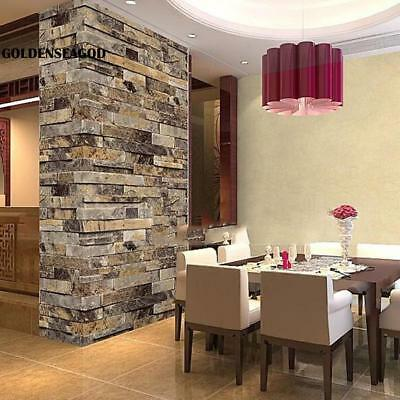 New Wallpaper 3D Effect Natural Embossed Stack Stone Brick Tile Print Wall GDNG
