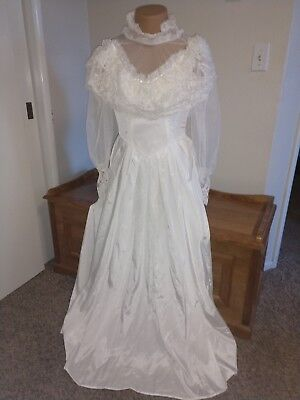 Womens Size Small Vintage White Bridal Dress Lingerie Dress High Neck Sheer Lace