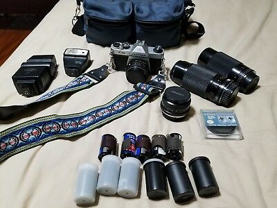 Pentax K100 Camera 35mm Stock Lens Wide Angle Zoom Filter Flash Film Strap Bag