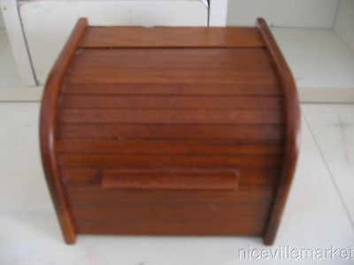Vintage Mid Century Danish Modern Teak Tambour Roll Top Recipe Box
