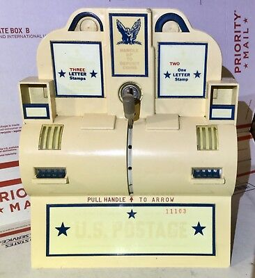 Vinage US Postage Stamp Dispenser Coin Operated Wall Mounted Plastic