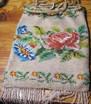 Antique Victorian Micro Tiny Glass Seed Bead Flowers Purse w/ Fringe beaded