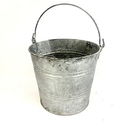 Vtg Galvanized Tin Milk Pail Bucket Metal Bale Handle Rustic Country Farm Decor