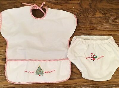 Vintage Nathan Krauskopf Co. Christmas Embroidered  Bib & Diaper Cover