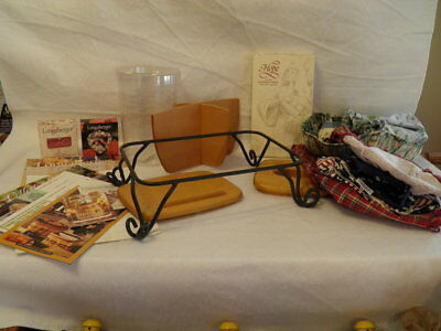 LONGABERGER LOT ~ Liners, Lids, Dividers, Protector, Mold, Wrought Iron Stand +