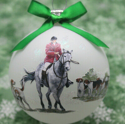 H082 Hand-made Christmas Ornament horse - fox hounds & hunter dapple gray whip