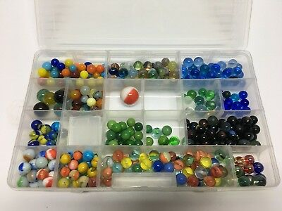 Vintage Collectible lot of Marbles Old Glass w/ Storage Case