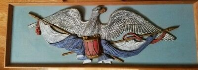Vintage Patriotic American Eagle Wall Plaque attached to wood and framed *RARE*