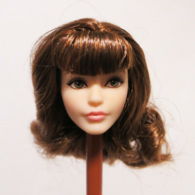 Head for Barbie Doll Brown Wavy Hair White Skin Doll Look Collection Soft Head