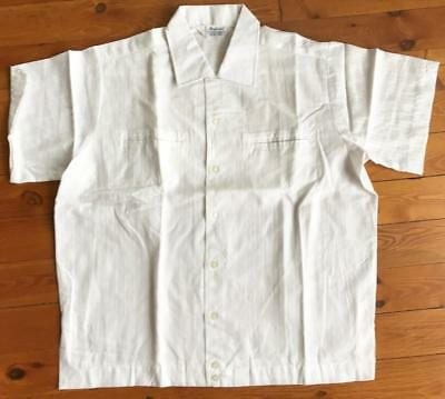 10 Vintage 1960s Mens white Short Sleeve Poly Cotton Shirts NOS Size L
