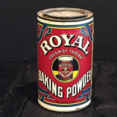 Antique Vintage Royal Baking Powder Advertising Tin with Paper Label