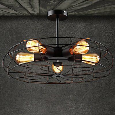Industrial Vintage Metal Fan Pendant Lamp Steampunk Ceiling Chandelier Light VP