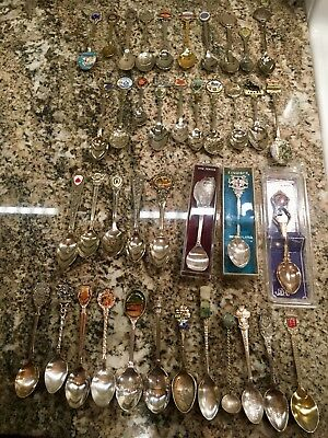 Lot of 40 Souvenir Spoons US and World + Silver!