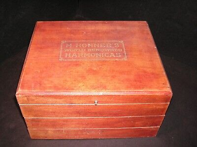 Antique Hohner Harmonica Display Case - Wooden Box General Store