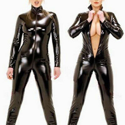 Donne Sexy Nero Body Manica Lunga Vestito da Club Tuta Latex Lingerie