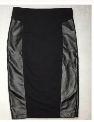 4f51fb8eadd 14th   Union Womens Faux Leather Panel Back Zip Black Bodycon Skirt Size 6