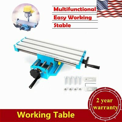 2 Axis Milling Machine Working Table Cross Sliding Bench Drill Vise Fixture DIY