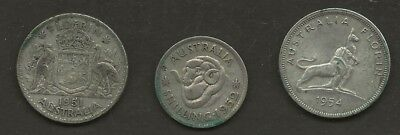 Australian  Early Dates    1 X One Shilling & 2 X 2 Shillings       Well Used