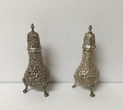 Kirk Repousse Sterling Silver Footed Salt & Pepper