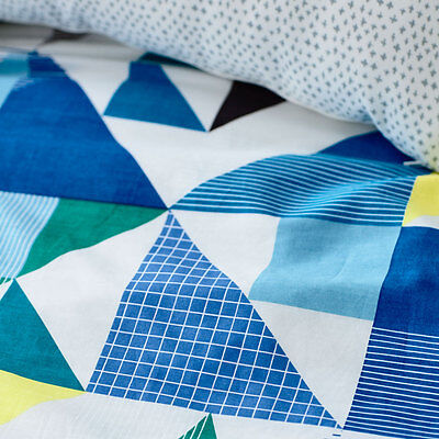 """100% Cotton Adairs Geometric""""concord"""" Quilt Cover Queen Rrp$149"""