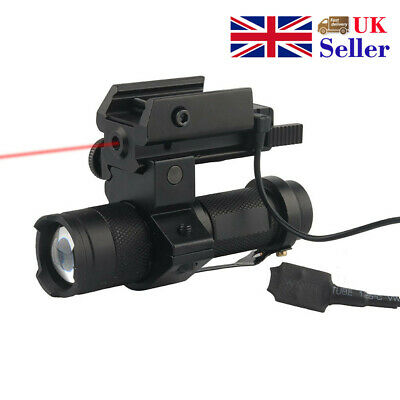 Tactical Red Laser With 3 Modes Q5 Flashlight For Pistol 20mm Standard Rails