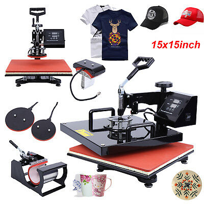 "15""x15"" 5IN1 Heat Press Transfer Machine Sublimation Swing Away T-Shirt Hat Cup"