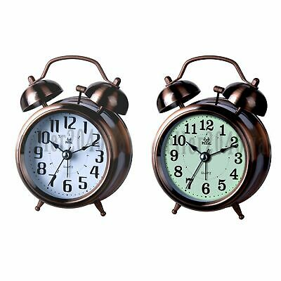 Twin Bell Alarm Clock Backlight Silent Desk Bed Cute Metal Table Clock Bronze