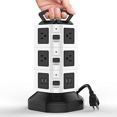 10 Outlet Power Strip 4 USB Charging Port Surge Protector Charging Station USA