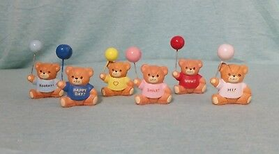 Lot of 6 Enesco Lucy & Me Bears Holding Balloons Figurines ~ Very Rare & HTF