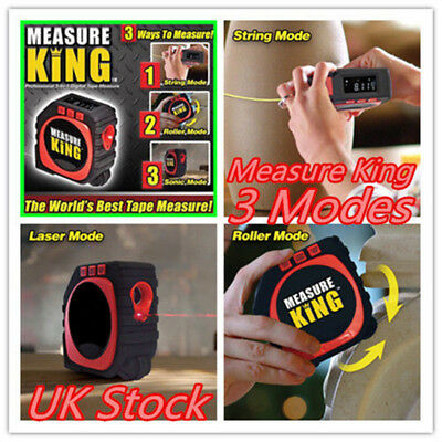 UK Measure King 3in1 Digital Tape Measure String Mode Sonic Mode And Roller Mode