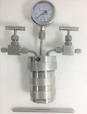 Hydrothermal synthesis Autoclave Reactor vessel +inlet outlet gauge 100ml 6MpaCF