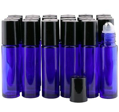 24PCS 10ml THICK Glass Roll On Bottles Big Metal Roller Bottle Essential Oils AU